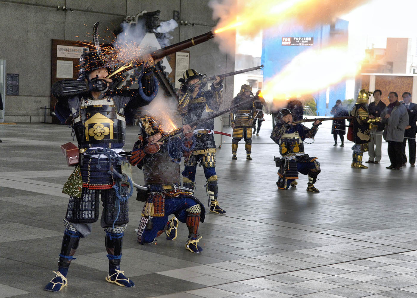Editorial Photography, Japanese warriors firing muskets